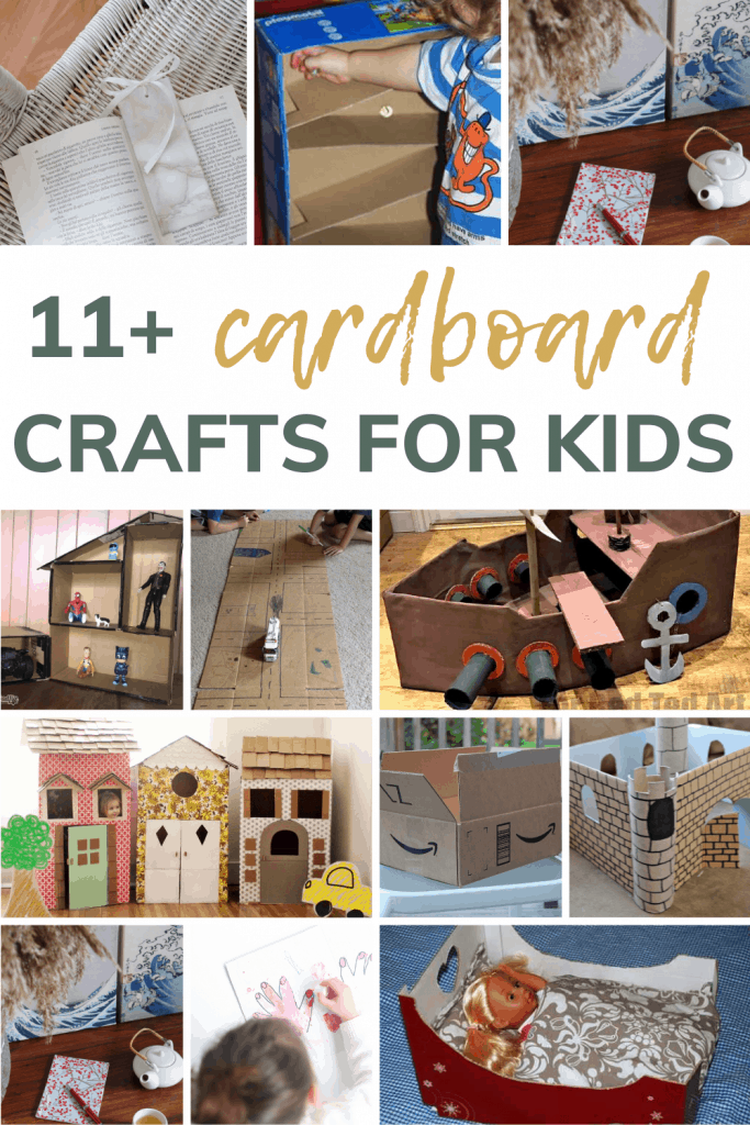 Collage showing different DIY projects using cardboard boxes for kids with text overlay that says 11+ cardboard crafts for kids!