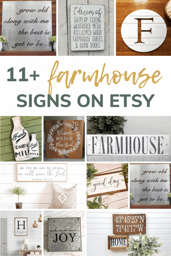 Collage of cute farmhouse wall decor signs with text overlay that says 11+ farmhouse signs on Etsy