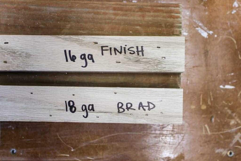 shows the two different gauges of the 18 gauge brad and 16 gauge finish nailers on wood