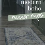 Vintage inspired runner on floor with dark gray overlay on picture and text that says 18 modern boho runner rugs