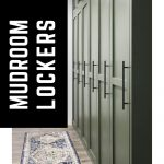 Dark green painted built in mudroom storage cabinets with doors and text overlay that says DIY mudroom lockers