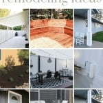 Collage of outdoor DIY projects in a grid format with a text overlay that says exterior home remodeling ideas