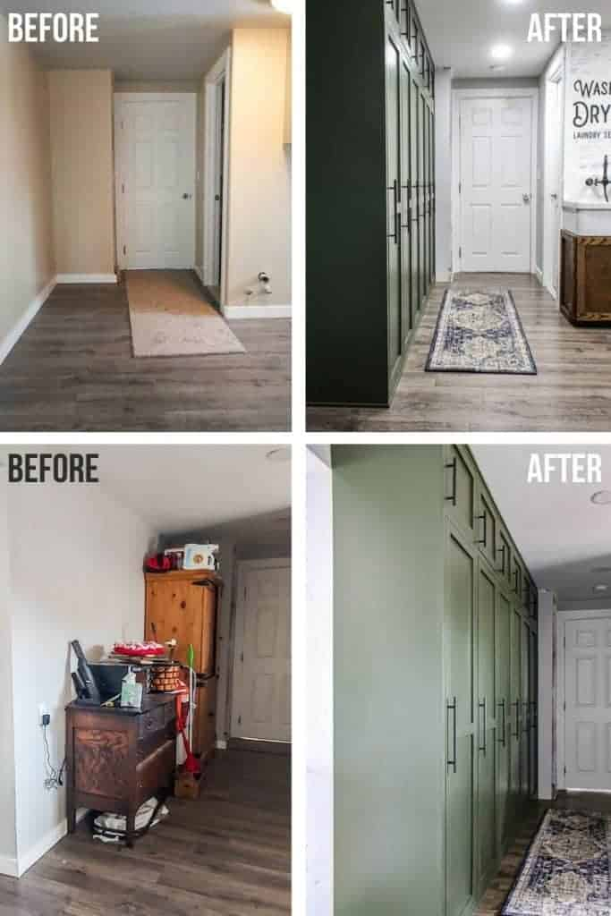 shows the 4 different before and after picture of the hallway with and without the green modern looking mudroom lockers