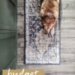 Yellow lab dog laying on a vintage inspired boho runner rug on gray floors with text overlay that says budget boho runner rug