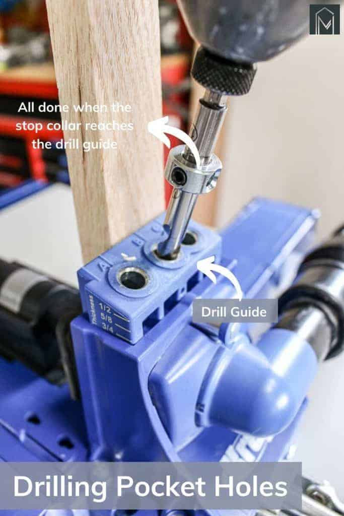 shows a drill drilling into a piece of wood with the Kreg pocket hole jig with overlay text that says all done when the stop collar reaches the drill guide, Drilling pocket holes