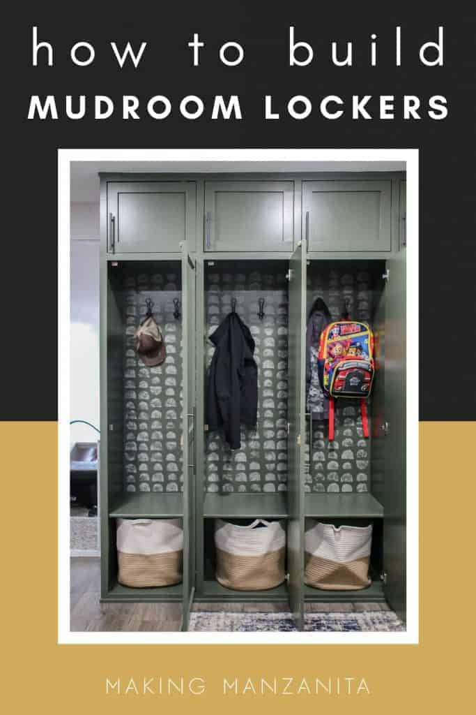 shows a picture of the mudroom lockers with the doors open that shows a hat, jackets, and a backpack hanging from the hooks and white and tan bags sitting in the bottom with text hat says how to build mudroom lockers