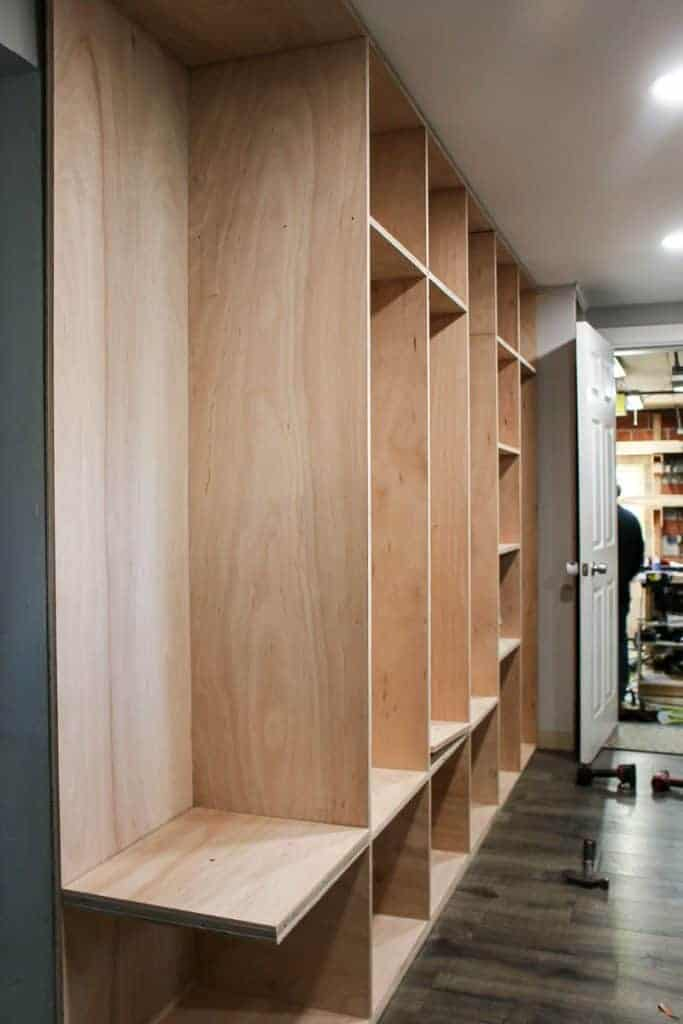 shows the shelves and backside of the mudroom assembled together