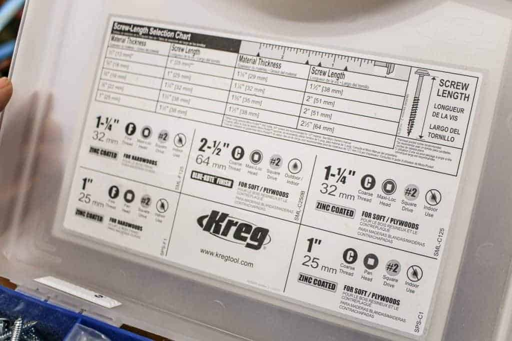 shows the kreg screw-length selection chart on the inside lid of the pocket hole screw kit
