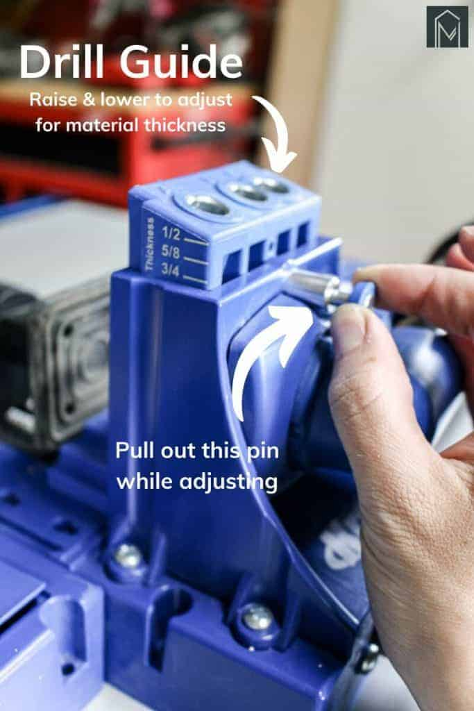 shows a picture of a hand adjusting the drill for material thickness on the Kreg Jig K5 System with overlay text that says drill guide, raise and lower to adjust for material thickness, pull out this pin while adjusting
