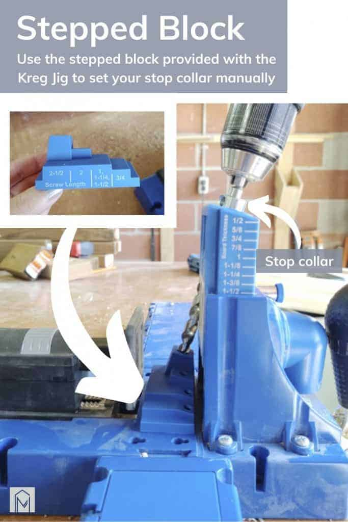 shows a couple pictures on how to use the stepped block to provide a manual stop collar with overlay text that says stepped block, use the stepped block provided with the Kreg Jig to set your stop collar manually