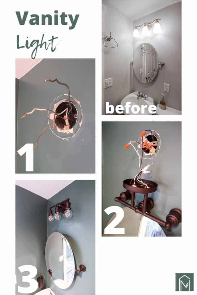 shows various pictures of the process on how to change the bathroom lights with overlay text that says vanity light