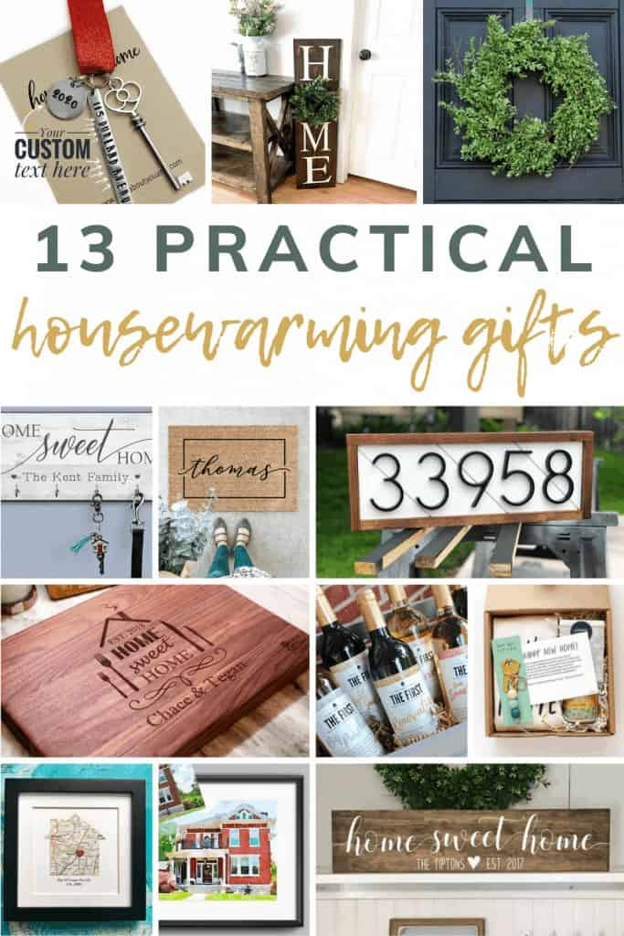 Collage of various gifts with text overlay that says 13 practice housewarming gifts