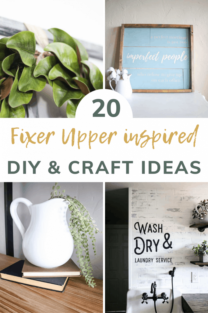 Collage of 4 farmhouse style craft ideas showing a magnolia wreath, shiplap sign, white farmhouse pitcher with vintage books, faux brick wall with stenciled letters on the wall with text overlay that says 20 fixer upper inspired DIY and craft ideas