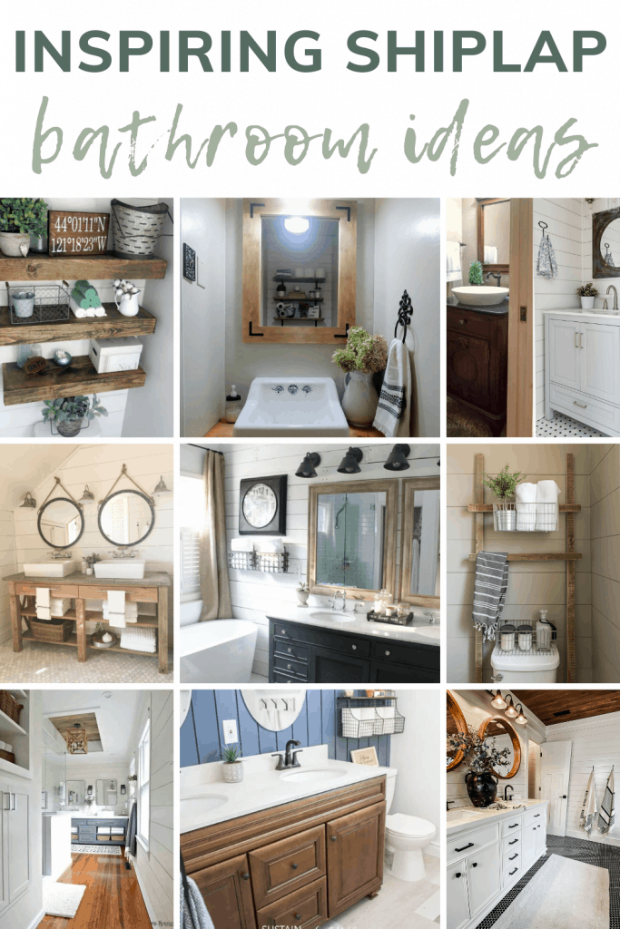 shows various bathrooms with different uses of shiplap decor with overlay text that says inspiring shiplap bathroom ideas
