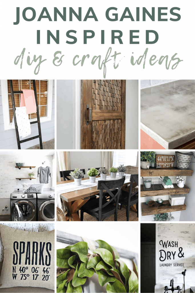Collage showing several farmhouse style DIY and craft ideas with text overlay that says Joanna Gaines inspired DIY and craft ideas