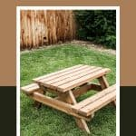 shows a backyard with wooden fence and grass with little wood kids picnic table with overlay text that says how to build a kids table
