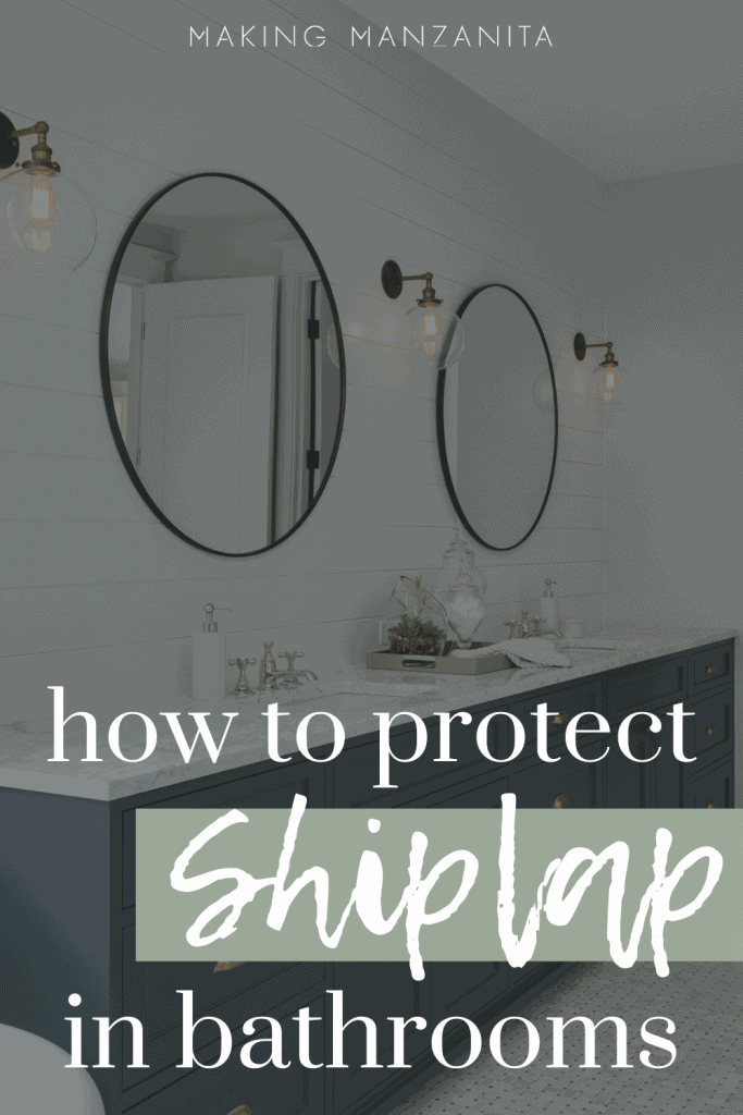 shows a modern looking bathroom with marble white counters on a dark blue cabinet with white horizontal shiplap in background with overlay text that says how to protect shiplap in bathrooms