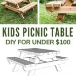shows a side and front view of the wood picnic table with a couple trees and grass in the background on top with 3d woodworking plans on bottom with overlay text that says kids picnic table DIY under $100 and a download free plans button on bottom