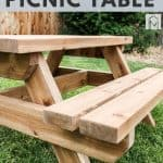shows an angled view of the wood kids picnic table with a couple trees and grass in the background with overlay text that says kids picnic table, download free plans