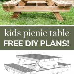 shows a front view of the wood picnic table in a backyard with woodworking 3d plans at the bottom and overlay text that says kids picnic table free DIY plans