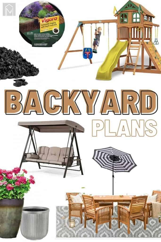 shows various parts of a backyard that are used for inspiration with overlay text that says backyard plans