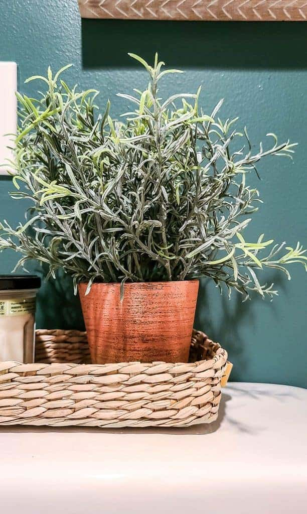 shows a plant and candle in a wicker basket on top of a toilet with a dark teal wall