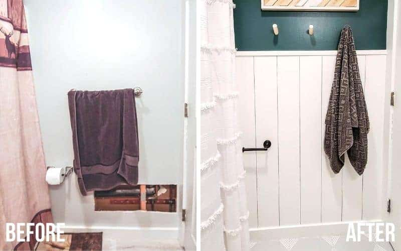 shows before and after pictures of a bathroom with a wall with a purple towel and and toilet paper holder with a hole in the wall on the bottom right with a outdated shower curtain and rug with overlay text that says before. The after picture shows a stylish vertical shiplap wall with white shower curtain and gray painted tile floors with dark green wall paint above shiplap and wooden towel hooks