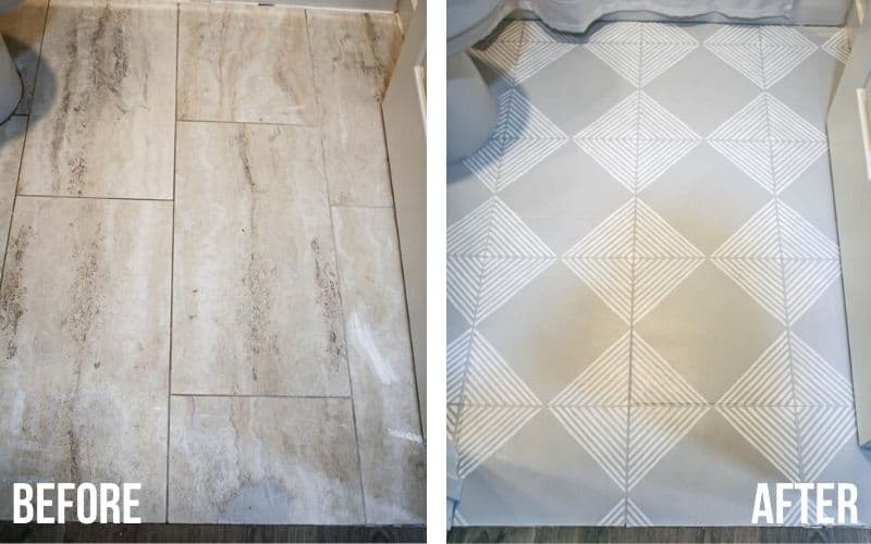 shows before and after pictures of tan marble floor turned into gray tile with white stripes with floor paint & stencils