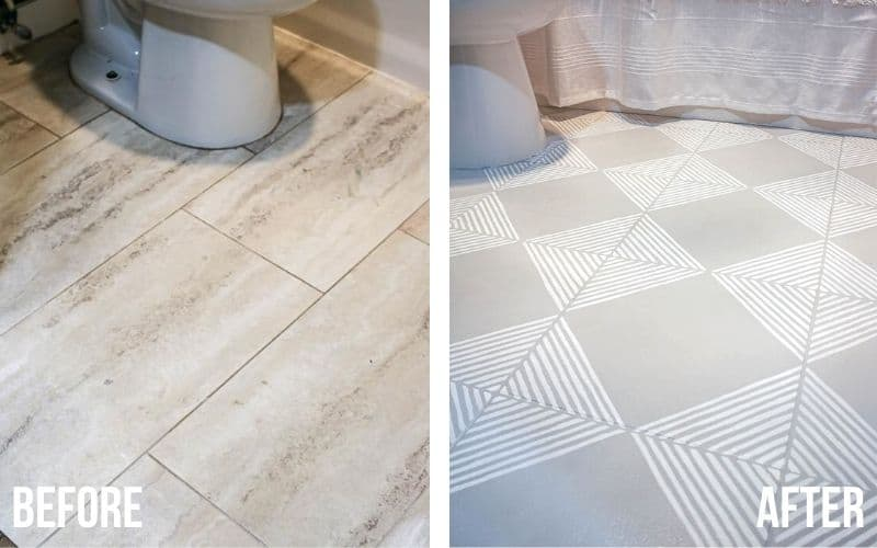 shows before and after pictures of outdated tan marble floor turned into gray tile with white stripes