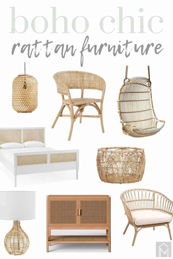 shows a variety of wicker furniture  with overlay text that says boho chic rattan furniture