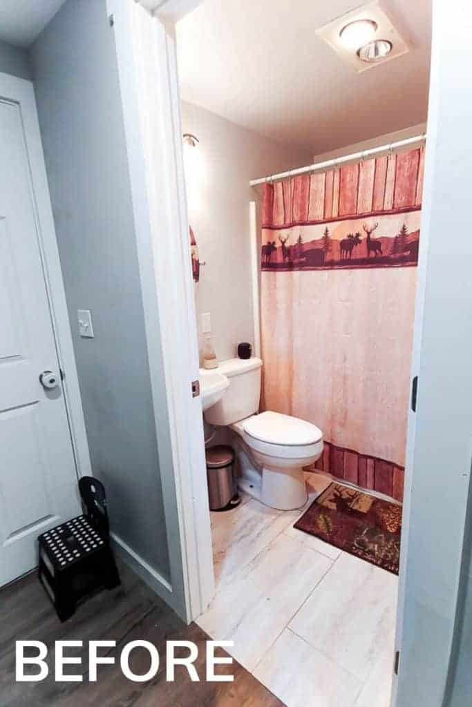 shows an outside view of a white bathroom with a rustic shower curtain  and rug with white tile and sink with overlay text that says before