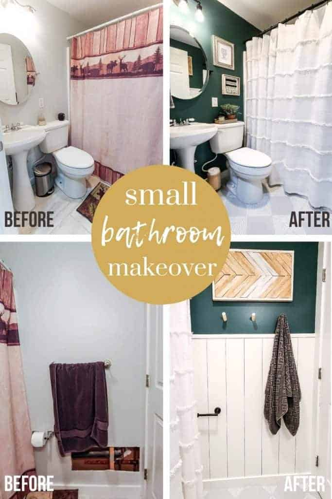 shows before and after pictures of different views of the budget bathroom makeover with overlay text that says small bathroom makeover