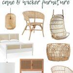 shows a variety of cane and wicker furniture with overlay text that says trending cane and wicker furniture