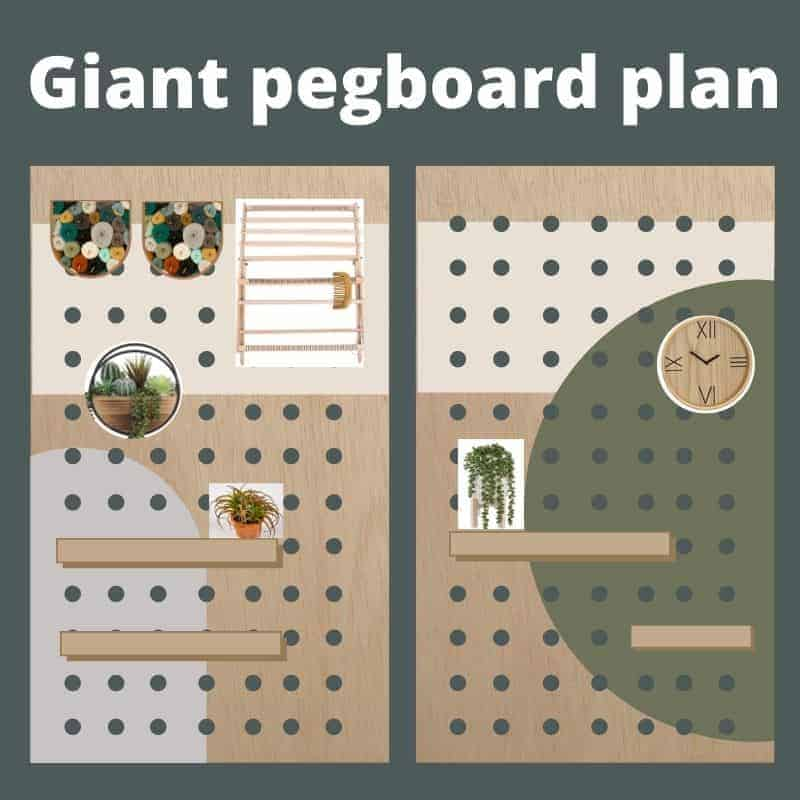 shows the woodworking plans for a giant wood pegboard for craft supplies with abstract painted shapes with text overlay that says giant pegboard wall