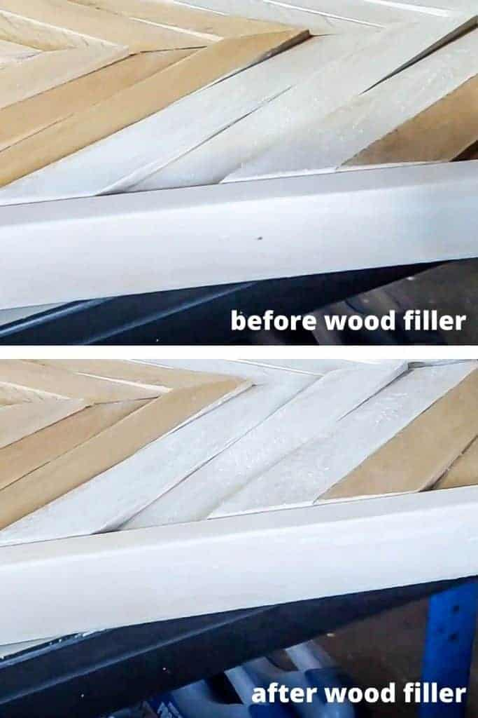 shows a before and after photo of the edge of the frame on DIY wood wall art with and with out wood filler