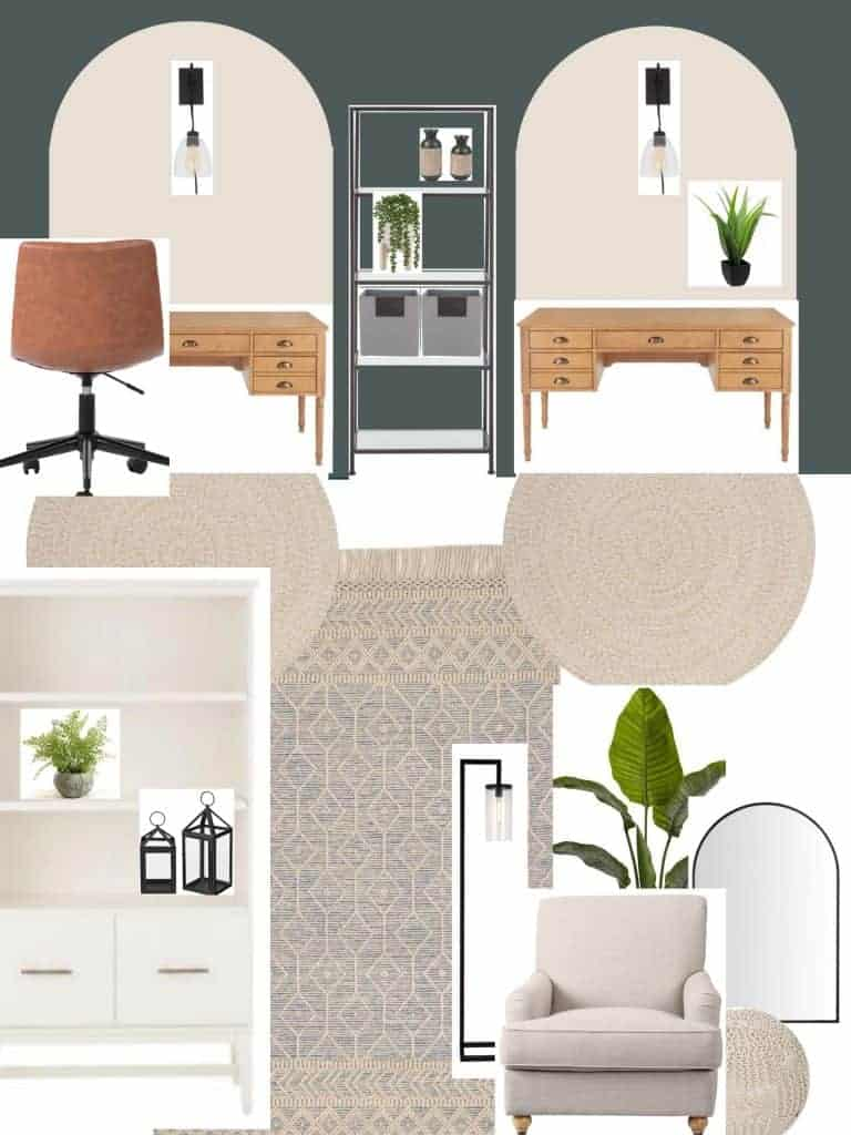 a basic room layout represented by items in an office mood board layout
