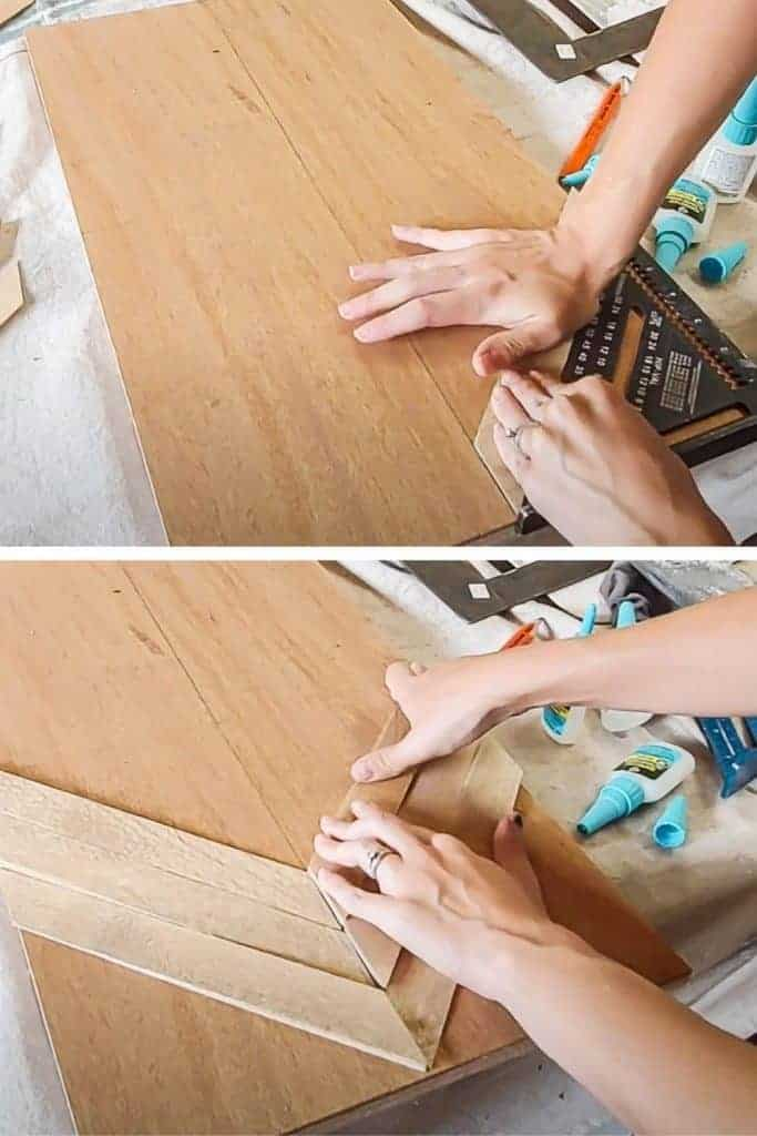 shows a pair of hand slaying down the small diagonal pieces of wood on a larger plywood piece