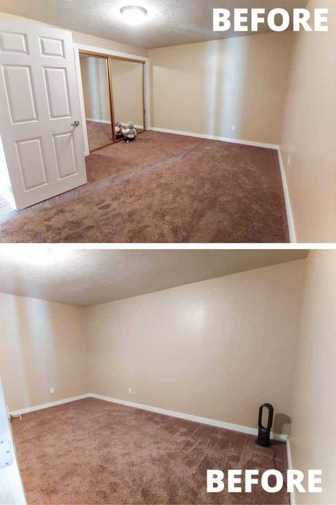 shows two before pictures of the office space