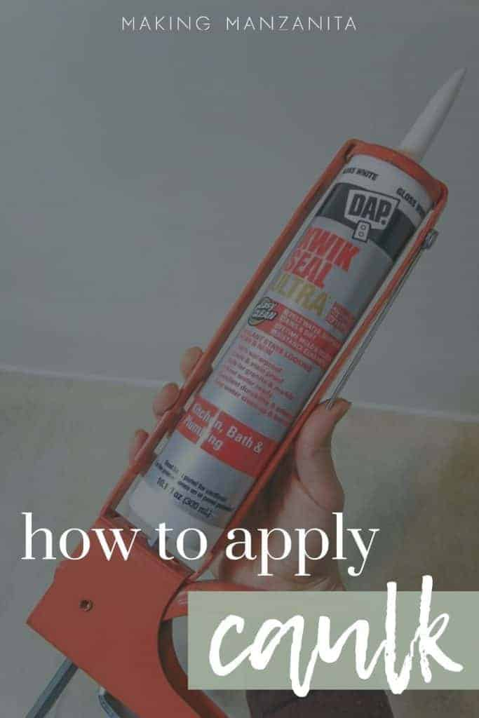 shows DAP Kwick Seal Ultra caulk in a persons hand with overlay text that says how to apply caulk