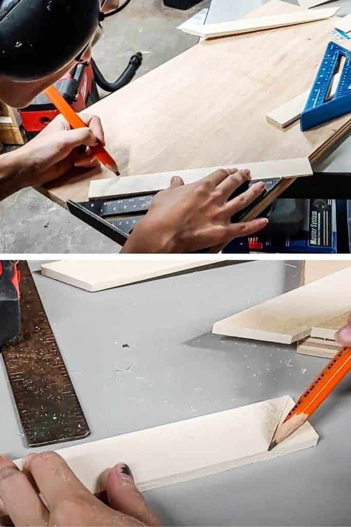shows a pair of hands measuring out the plywood and the bottom picture is measuring out wood shim angled cut
