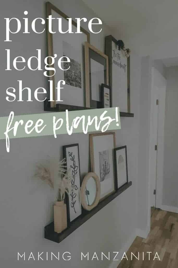 shows another angle of the dark stained ledge shelves with upcycle frames on a gray wall in a hallway with over lay text that says picture ledge shelf, free plans!