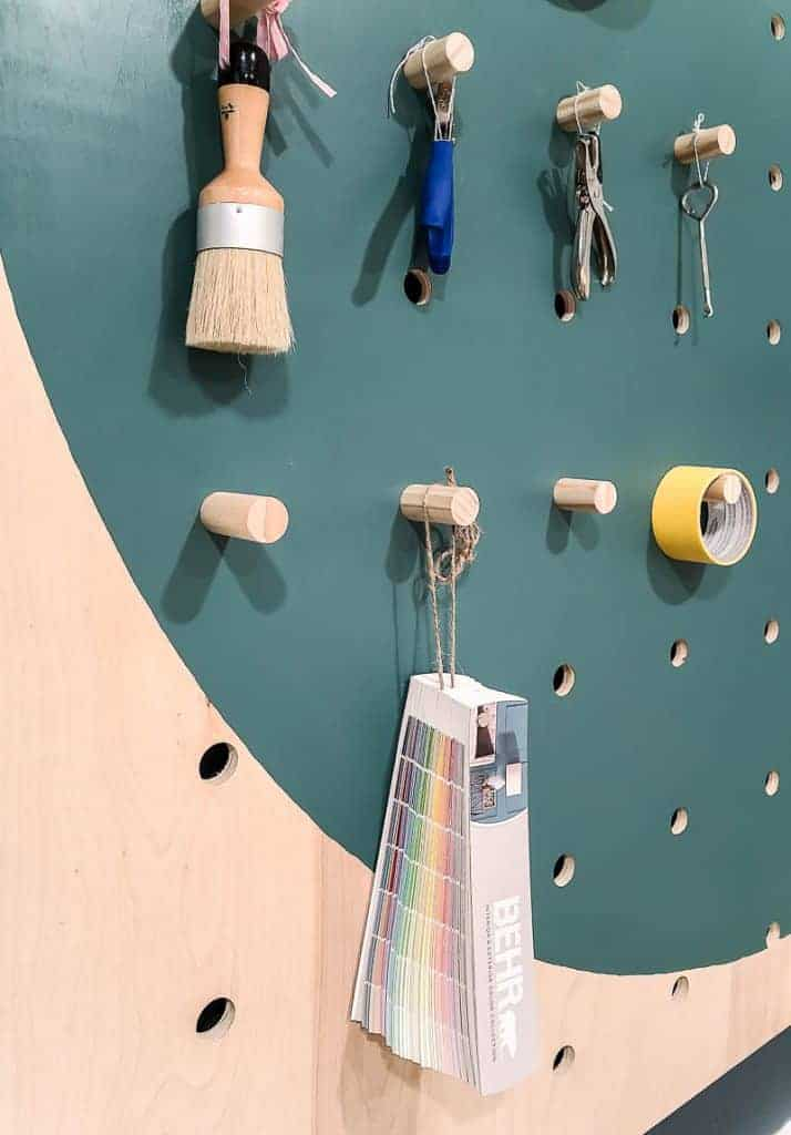 Pegboard with hanging items
