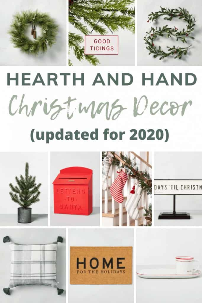 Collage of Christmas decor with text overlay that says Hearth and Hand Christmas Decor updated for 2020