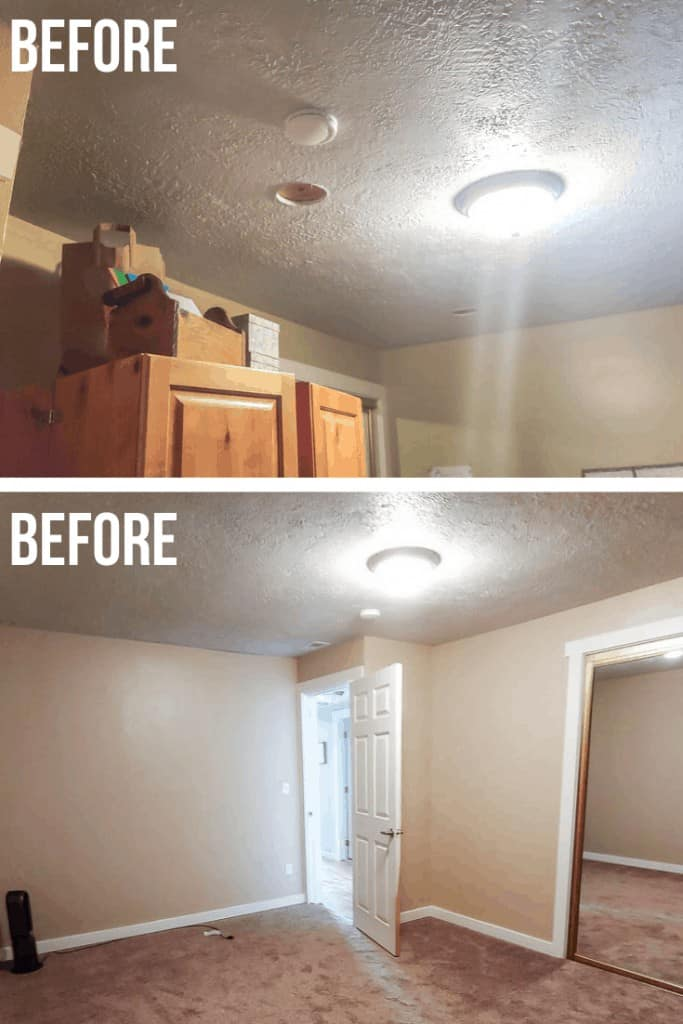 Pictures of our home office popcorn-textured ceiling before we installed shiplap