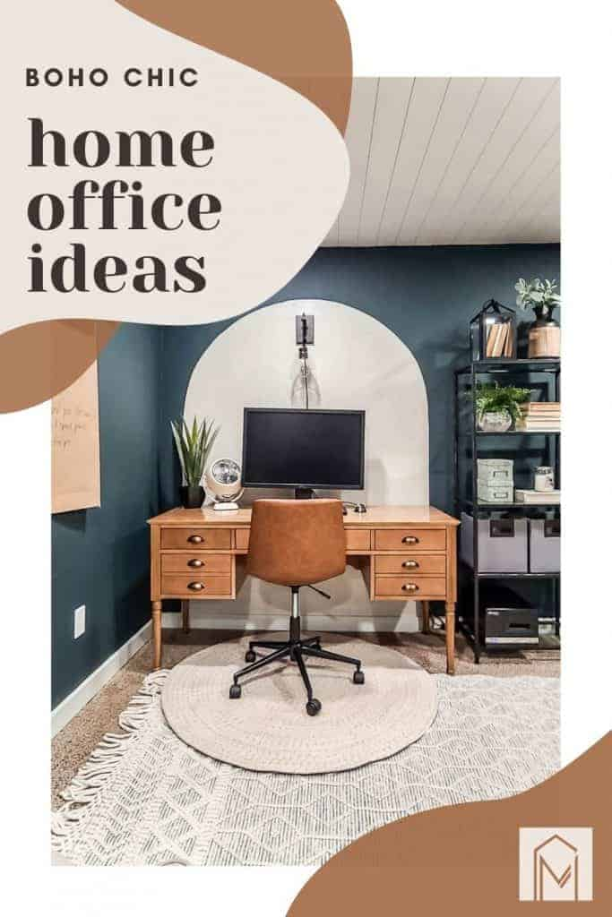 shows a white arch on wall with a dark green blue wall with a wooden desk and leather offie chair with white textured layered rugs with overlay text that says boho chic home office ideas