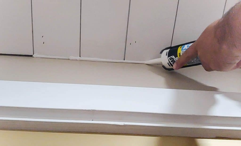 Caulking shiplap ceiling