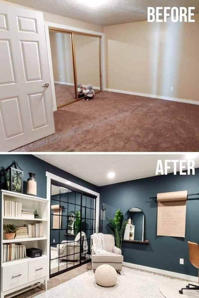 shows a before and after photo of a brown office room to a dark teal and white room with wood desks and white book shelves and boho rug