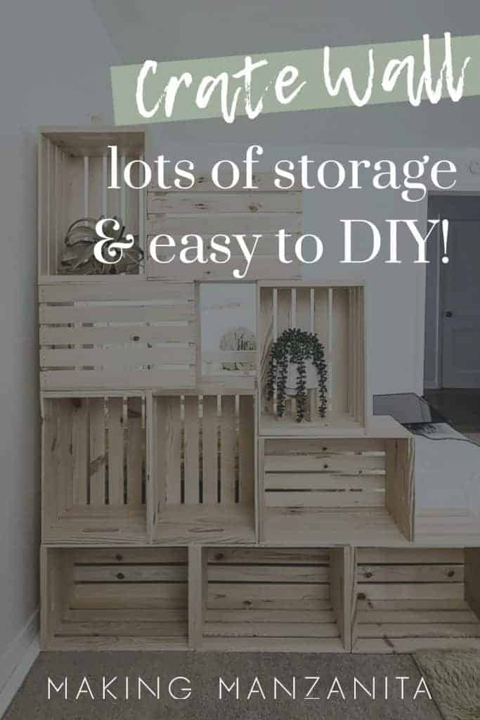 shows 10 wood crate stacked on each other to create a wall with some plants in it with overlay text that says crate wall, lots of storage and easy to DIY