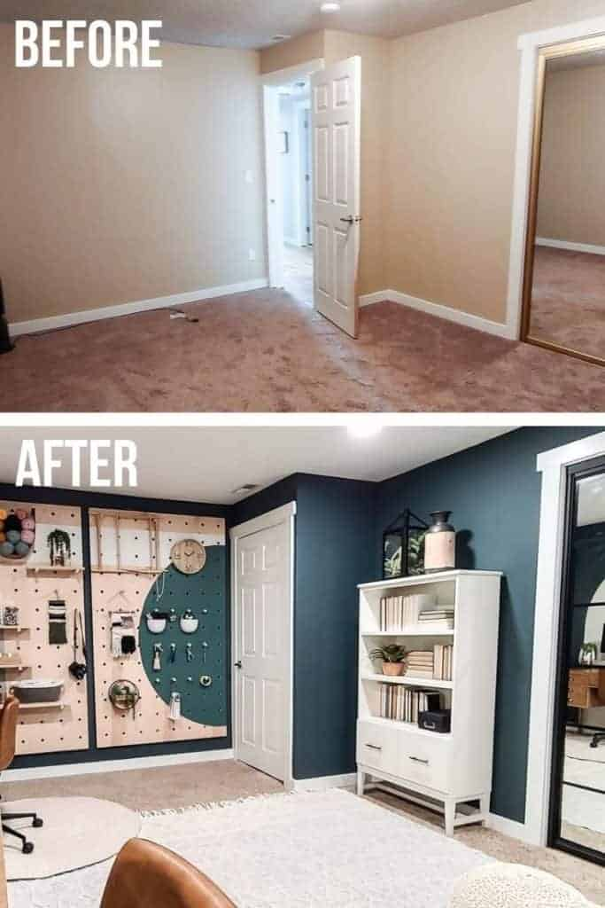 before photo on top the home office makeover and after picture below shows dark green wall paint, pegboard storage wall, white door, white bookcase and light colored boho textured area rug