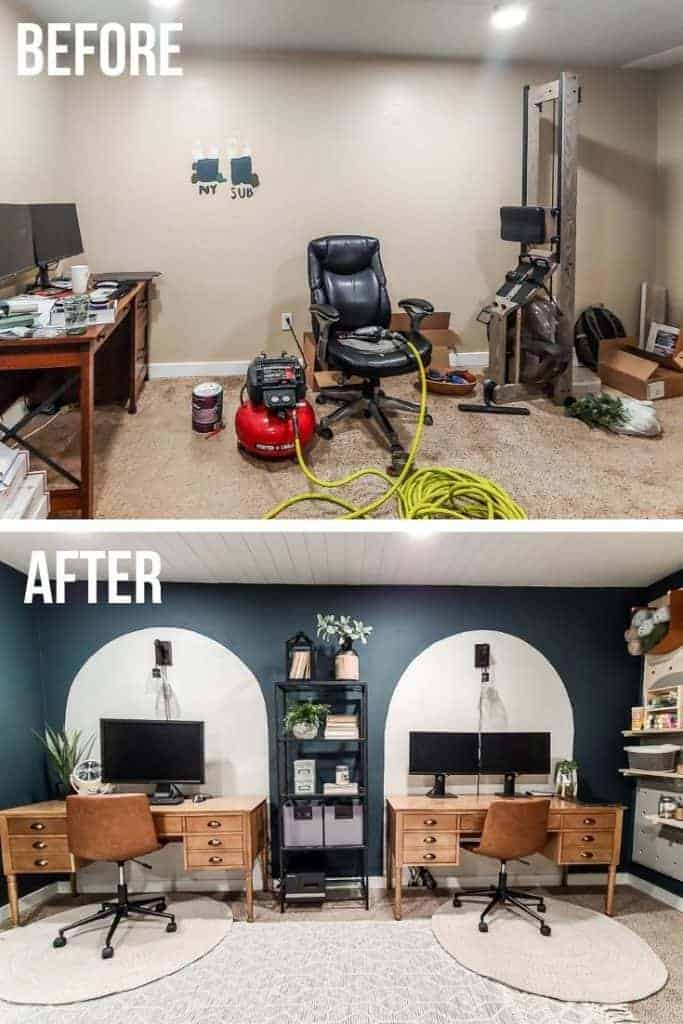 shows two before and after photos of a home office space from a dark brown room to a space with two  desks with a painted white backdrops, green painted walls with a wood desks and leather chairs with wall sconce lighting above desk with white rugs with metal shelving unit in between desks for storage